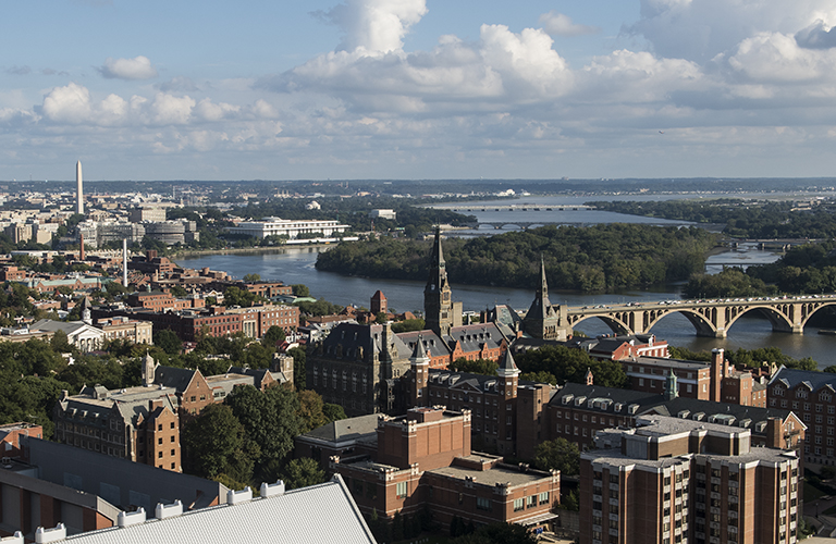 The Georgetown skyline with Washington, D.C. in the background