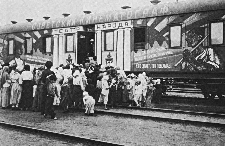 Russian train covered in propaganda (black and white photo)