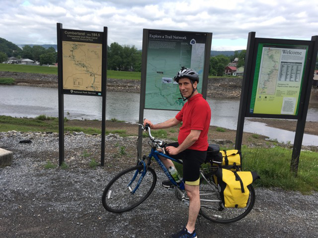 Physics Professor Jeff Urbach biking the C&O towpath