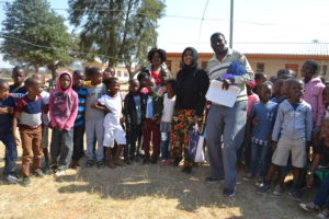 Awal with youth of Mabule, Botswana