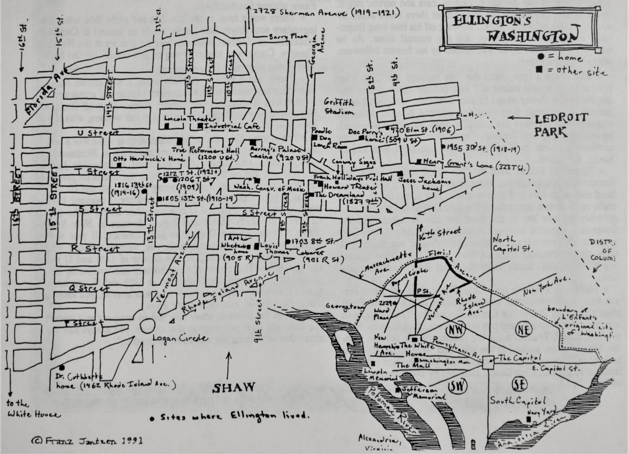 "Hand-drawn map of Ellington's Washington by Franz Jantzen highlighting prominent U Street locations included in the ""Remembering U Street: A Pictorial Reminiscence"" book from the 1994 U Street Festival by Henry Whitehead et al. Courtesy of George Washington University's Special Collections."