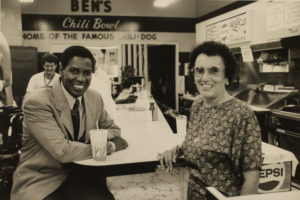 Denzel Washington with Virginia Ali at Ben's Chili Bowl