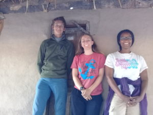Andrew Sedlack (C'20), Peri Beckerman (C'20), and Yemiserach Benyame (C'18) at the 'Hoya House' in Basanga village, Central Province, Zambia in 2018 during the inaugural year of the Zambia Field School program.