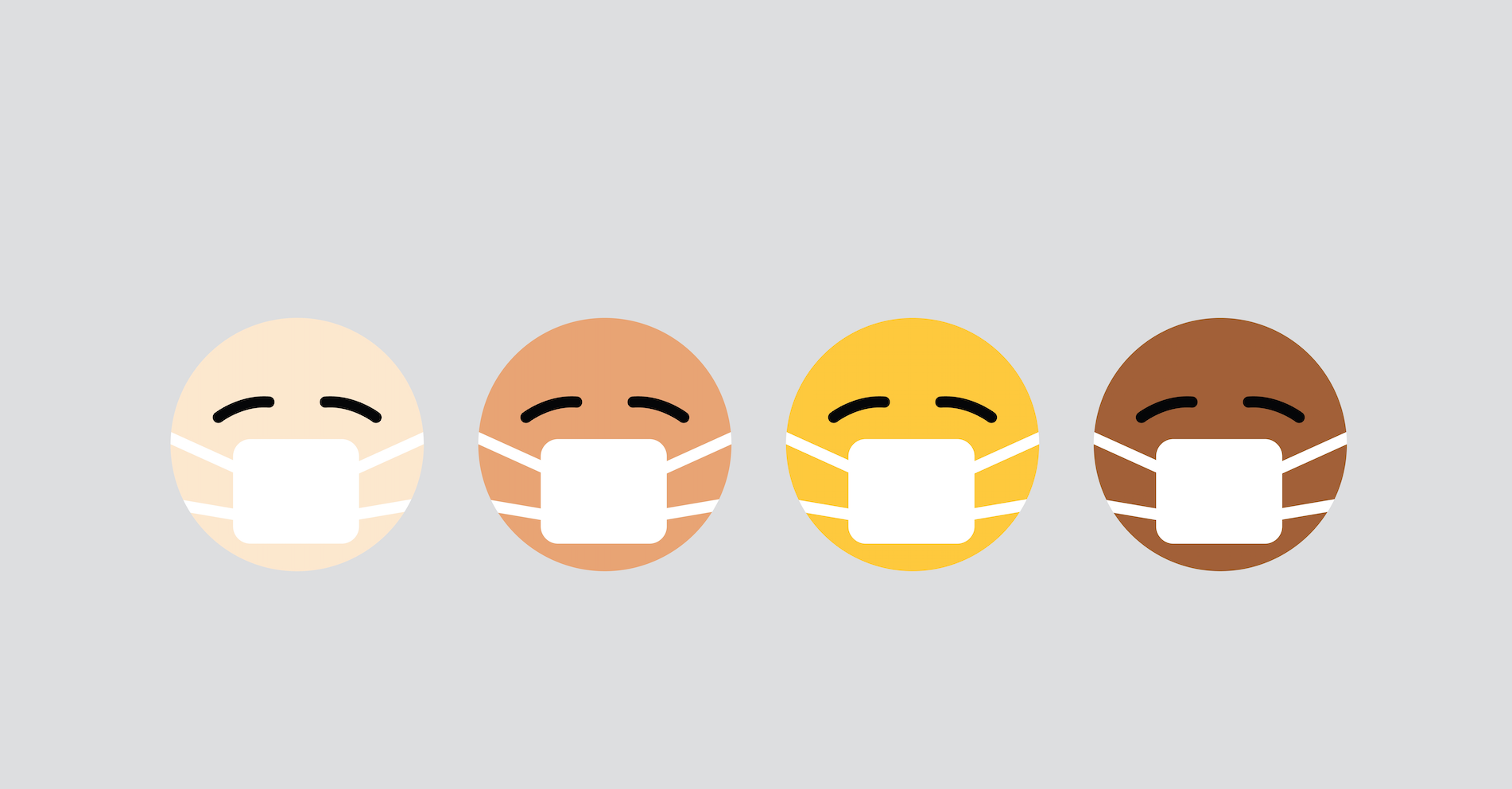 screenshot of emojis with different skin colors wearing masks
