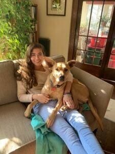 Photo of Maya Cassady with dog