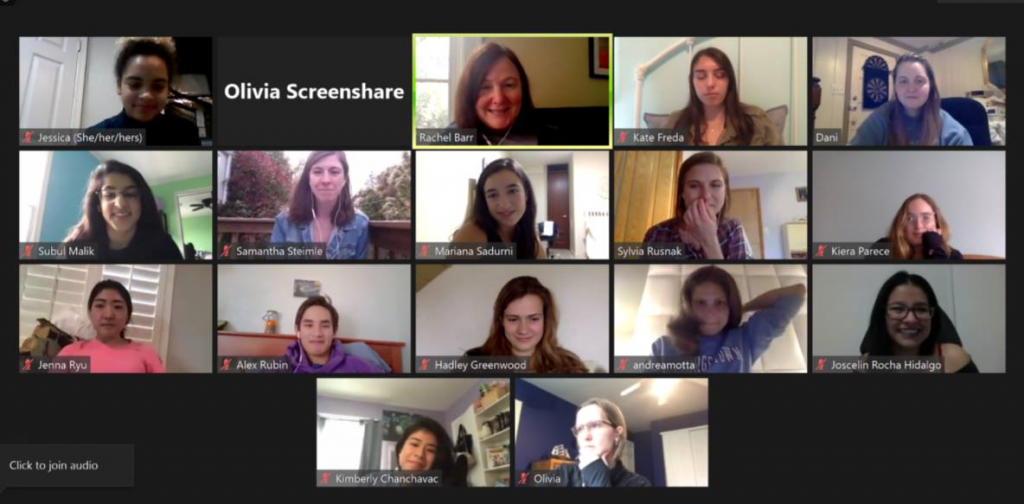 screenshot of a lab meeting with seniors involved in the project over Zoom