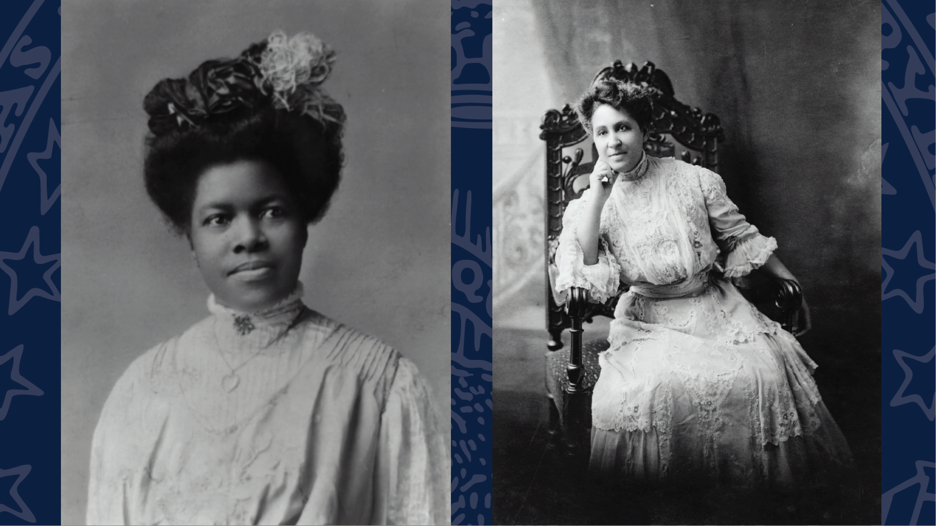Black and white photos of Black suffragists Nannie Helen Burroughs and Mary Church Terrell