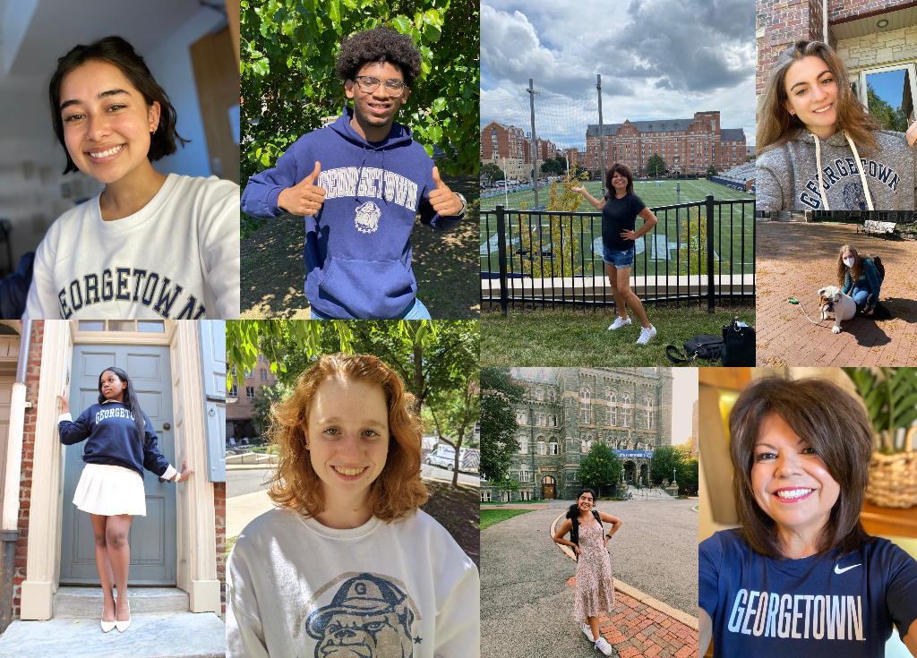 collage of student photos. Each of them are wearing a Georgetown tshirt or sweatshirt
